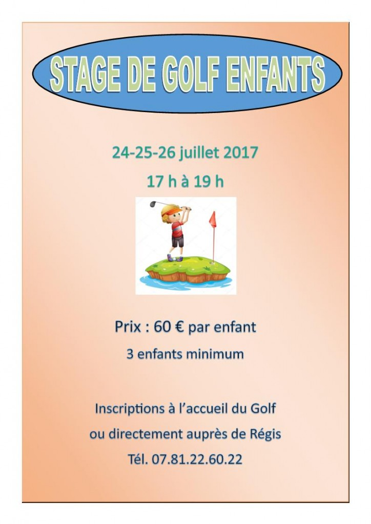 Stage de golf enfants 2017